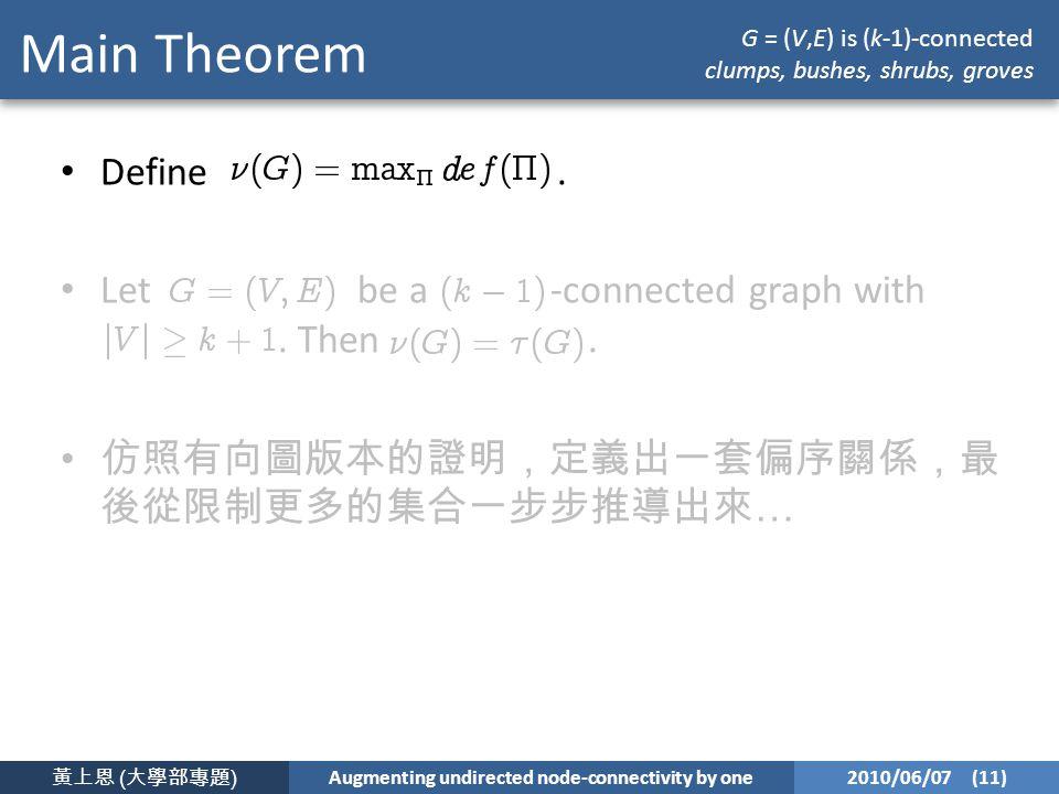 黃上恩 ( 大學部專題 ) Augmenting undirected node-connectivity by one 2010/06/07 (11) Main Theorem Define.