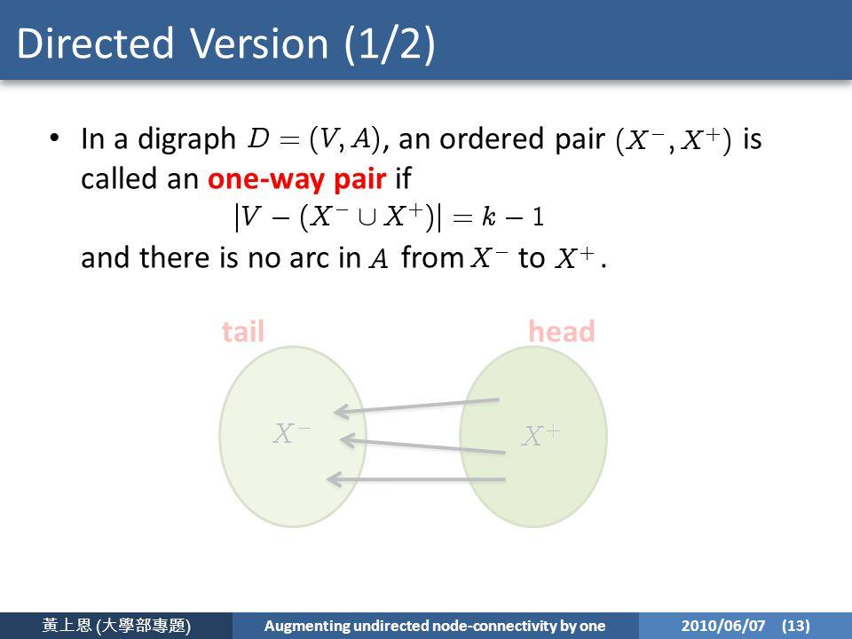黃上恩 ( 大學部專題 ) Augmenting undirected node-connectivity by one 2010/06/07 (13) Directed Version (1/2) In a digraph, an ordered pair is called an one-way pair if and there is no arc in from to.
