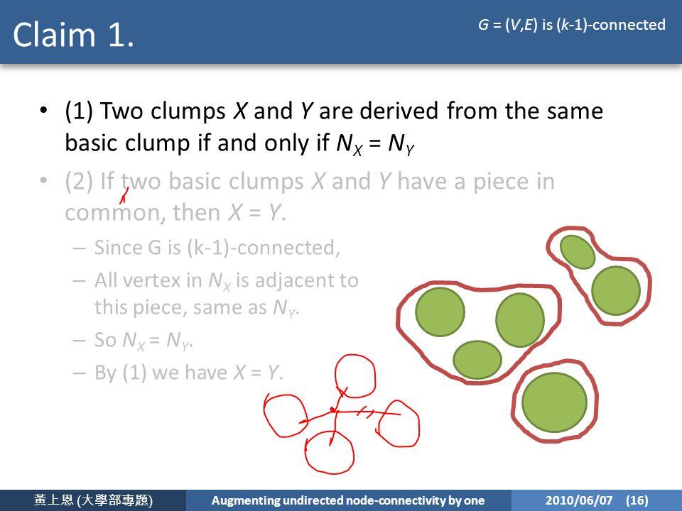 黃上恩 ( 大學部專題 ) Augmenting undirected node-connectivity by one 2010/06/07 (16) Claim 1.