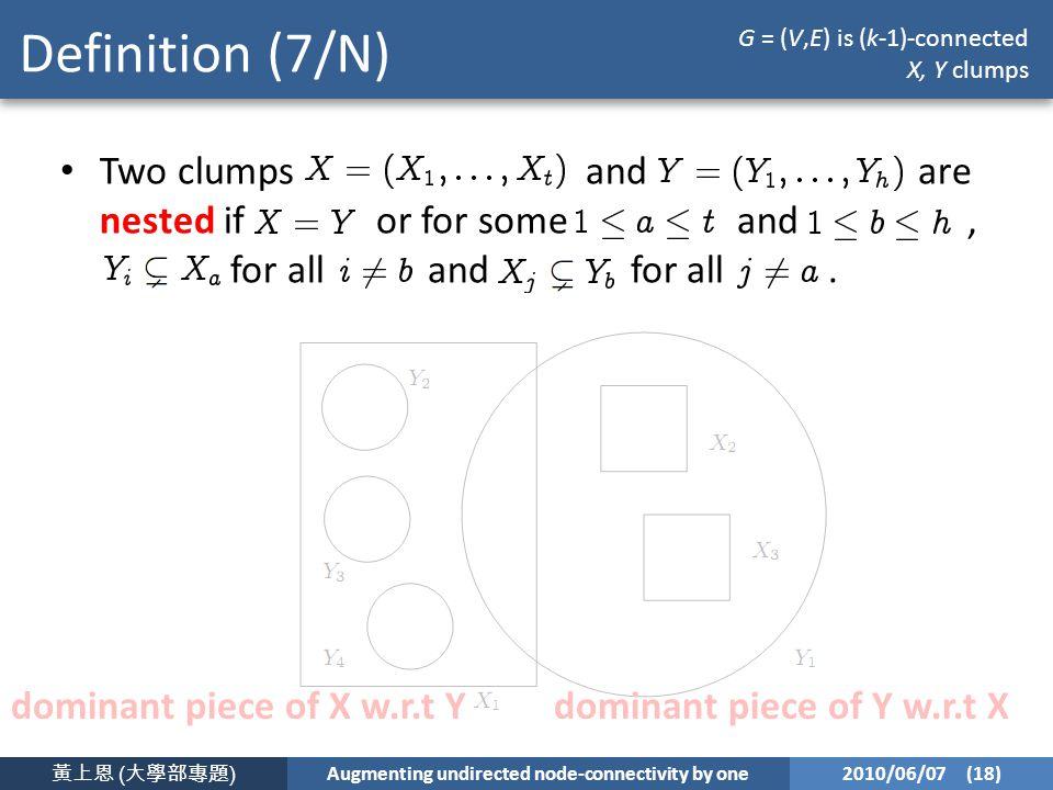 黃上恩 ( 大學部專題 ) Augmenting undirected node-connectivity by one 2010/06/07 (18) Definition (7/N) Two clumps and are nested if or for some and, for all and for all.