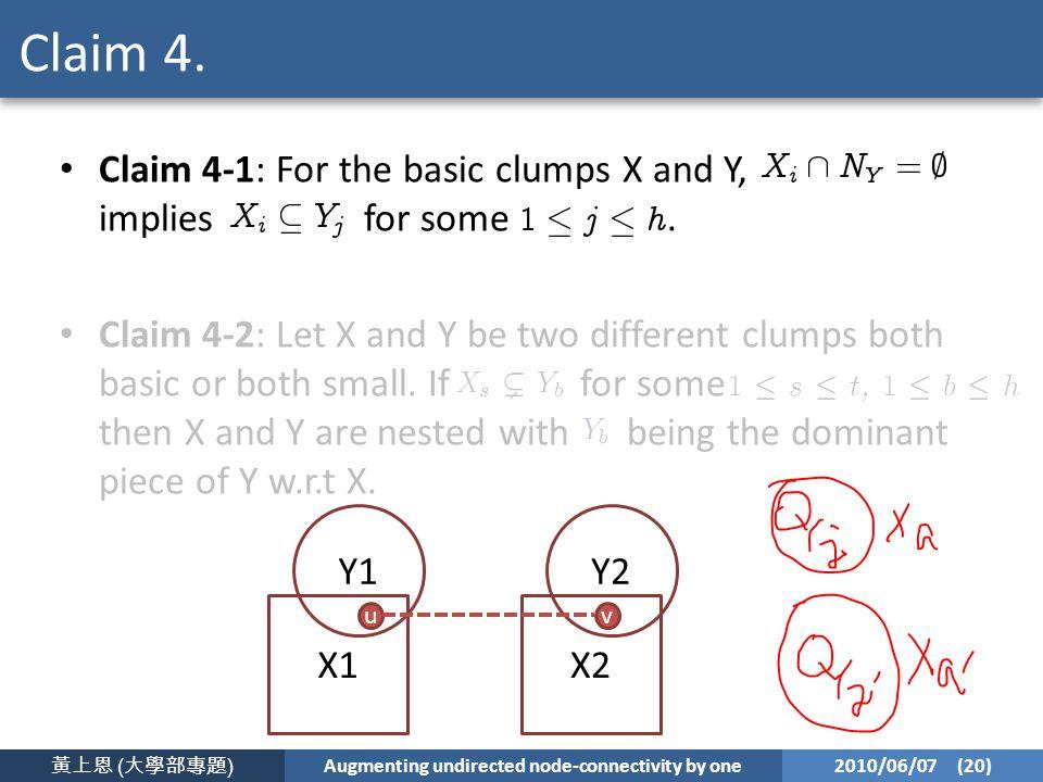黃上恩 ( 大學部專題 ) Augmenting undirected node-connectivity by one 2010/06/07 (20) Claim 4.
