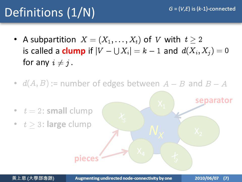 黃上恩 ( 大學部專題 ) Augmenting undirected node-connectivity by one 2010/06/07 (7) NXNX X1X1 X2X2 X3X3 X4X4 X5X5 pieces separator Definitions (1/N) A subpartition of with is called a clump if and for any.