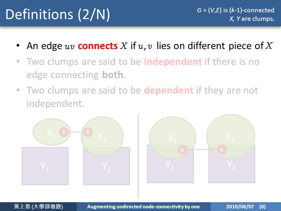 黃上恩 ( 大學部專題 ) Augmenting undirected node-connectivity by one 2010/06/07 (8) Definitions (2/N) An edge connects if, lies on different piece of Two clumps are said to be independent if there is no edge connecting both.