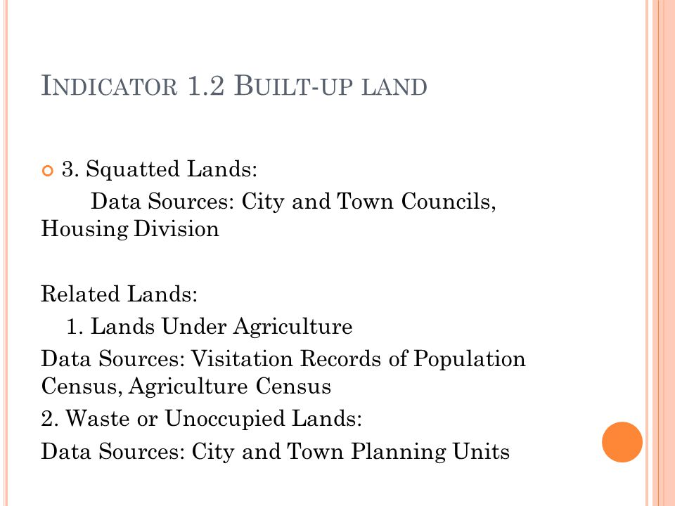 I NDICATOR 1.2 B UILT - UP LAND 3.
