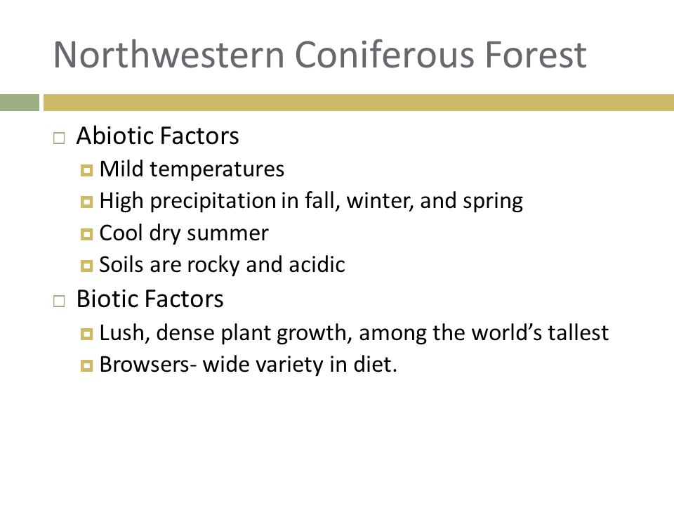  Abiotic Factors  Mild temperatures  High precipitation in fall, winter, and spring  Cool dry summer  Soils are rocky and acidic  Biotic Factors