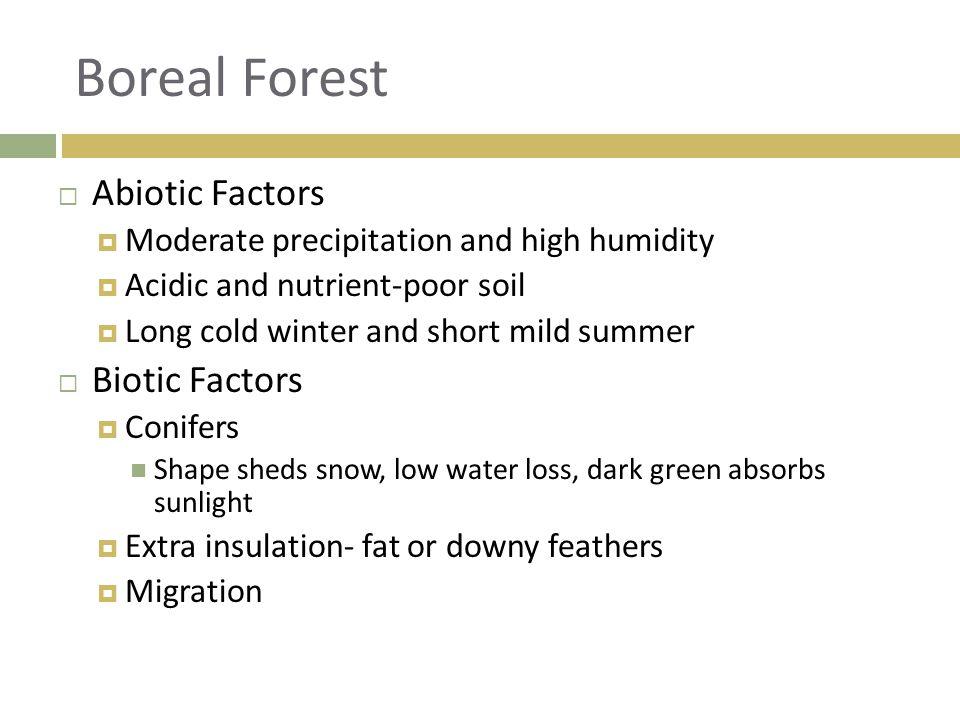  Abiotic Factors  Moderate precipitation and high humidity  Acidic and nutrient-poor soil  Long cold winter and short mild summer  Biotic Factors