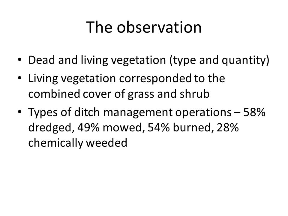 The observation Dead and living vegetation (type and quantity) Living vegetation corresponded to the combined cover of grass and shrub Types of ditch management operations – 58% dredged, 49% mowed, 54% burned, 28% chemically weeded