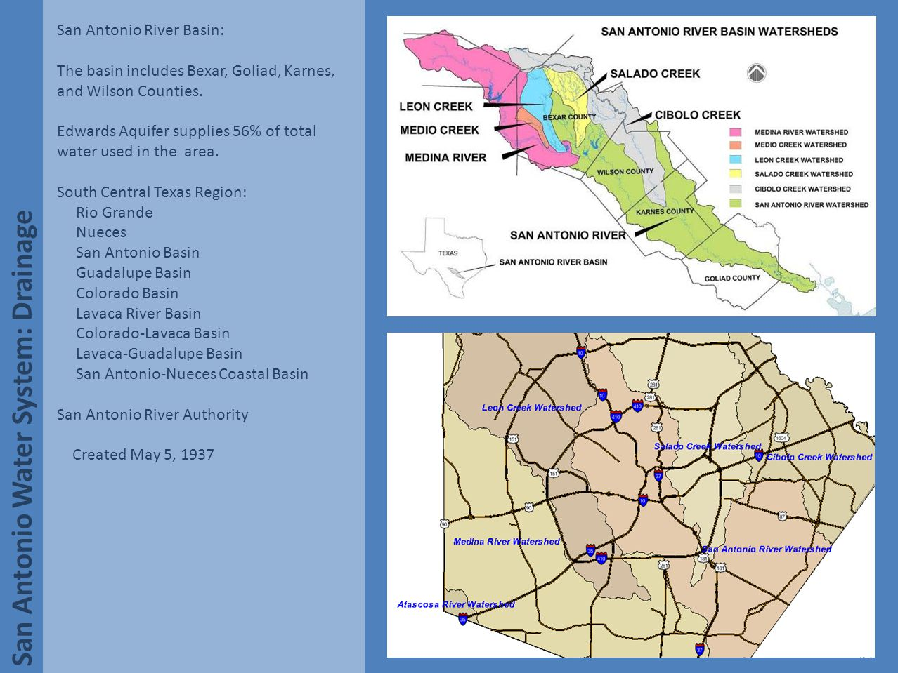 San Antonio Water System: Major Aquifers The San Antonio River Basin: San Antonio receives much of its water from underground sources and above ground aquifers.