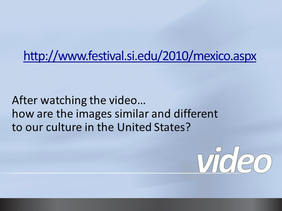 After watching the video… how are the images similar and different to our culture in the United States?