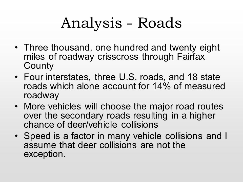 Analysis - Roads Three thousand, one hundred and twenty eight miles of roadway crisscross through Fairfax County Four interstates, three U.S.