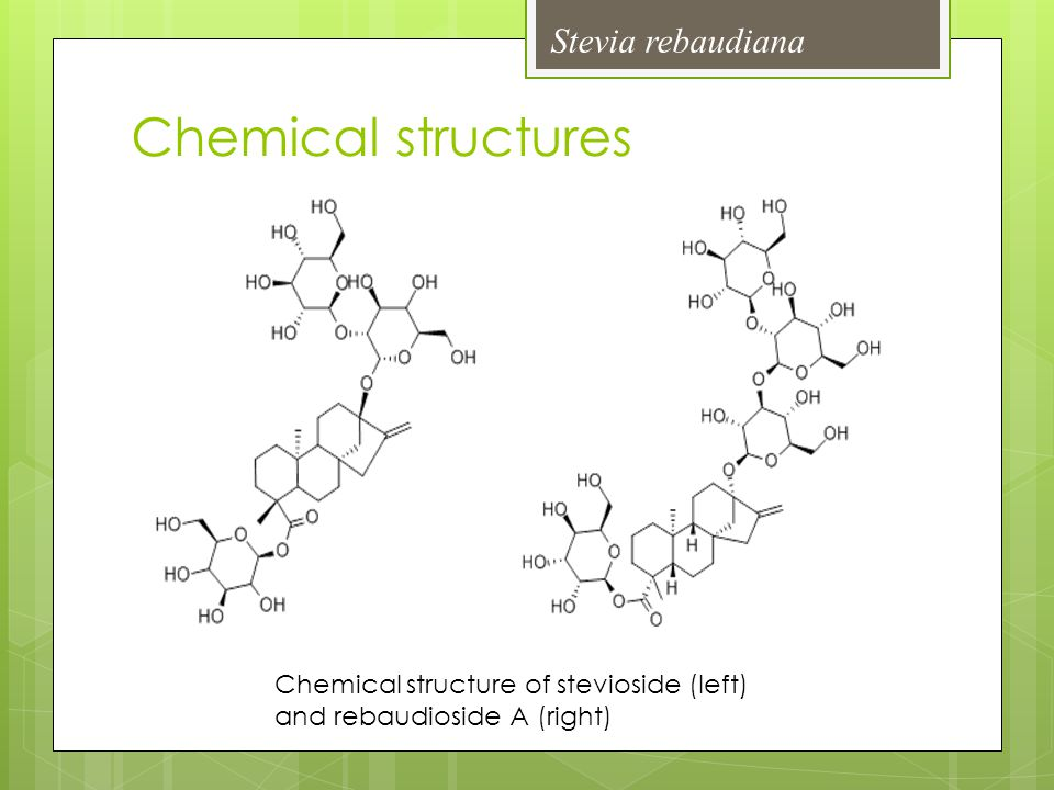Chemical structure of stevioside (left) and rebaudioside A (right) Stevia rebaudiana Chemical structures