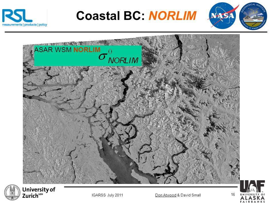 Don Atwood & David SmallIGARSS July 2011 16 ASAR WSM NORLIM Coastal BC: NORLIM