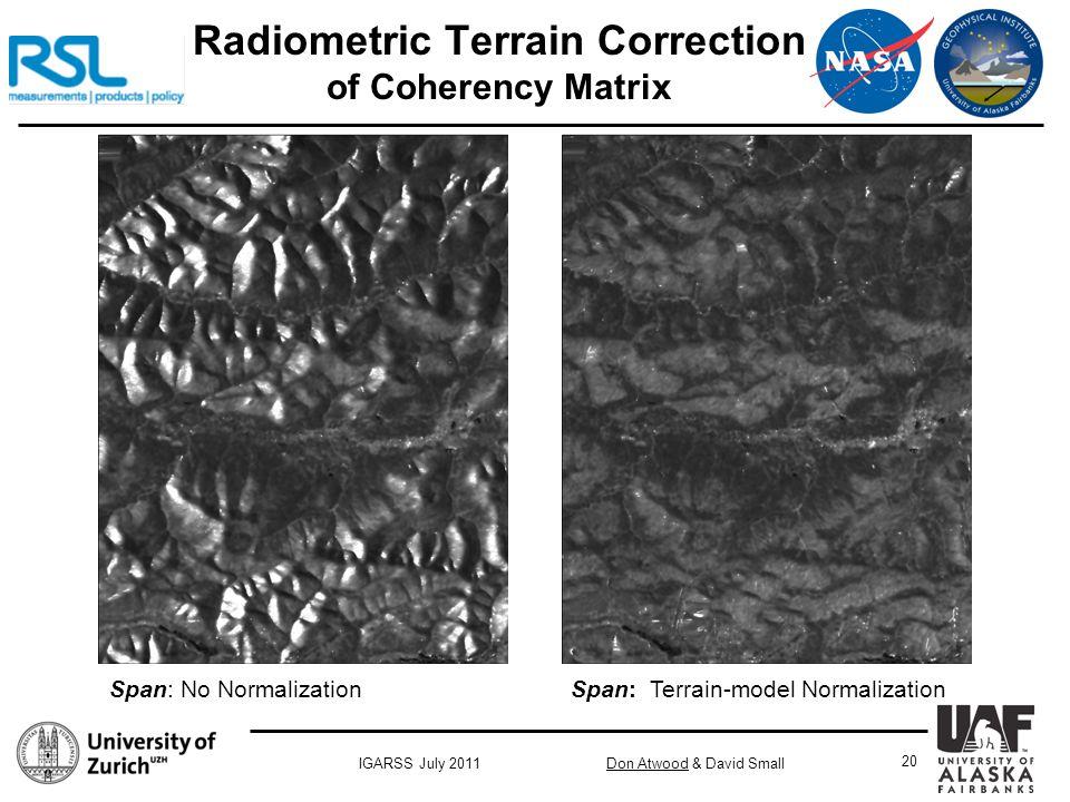 Don Atwood & David SmallIGARSS July 2011 20 Radiometric Terrain Correction of Coherency Matrix Span: No Normalization Span: Terrain-model Normalization