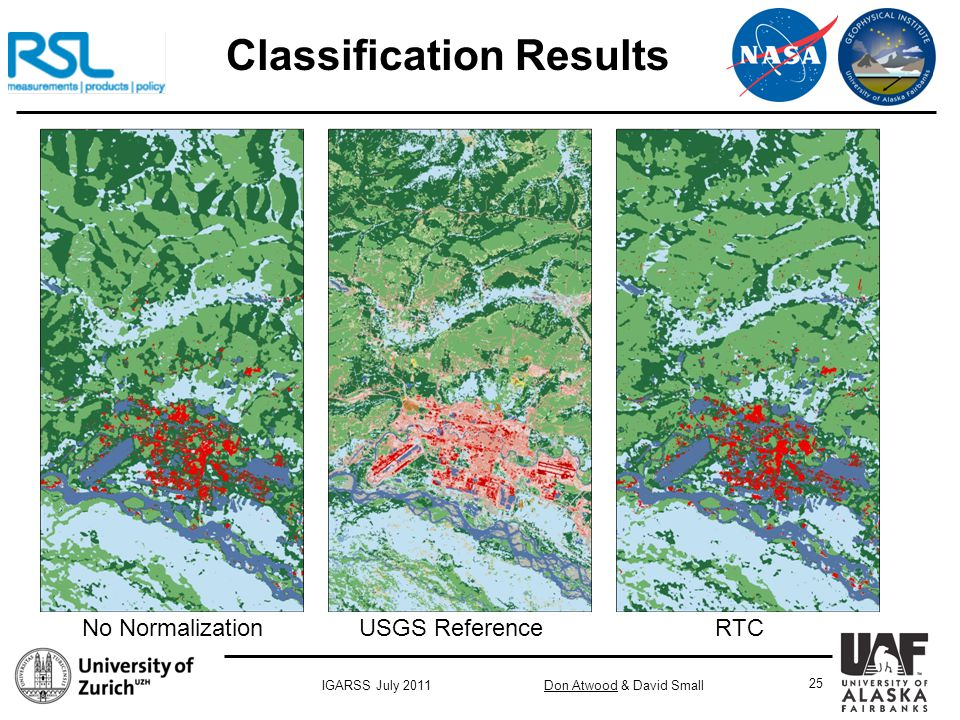 Don Atwood & David SmallIGARSS July 2011 25 Classification Results No Normalization USGS Reference RTC