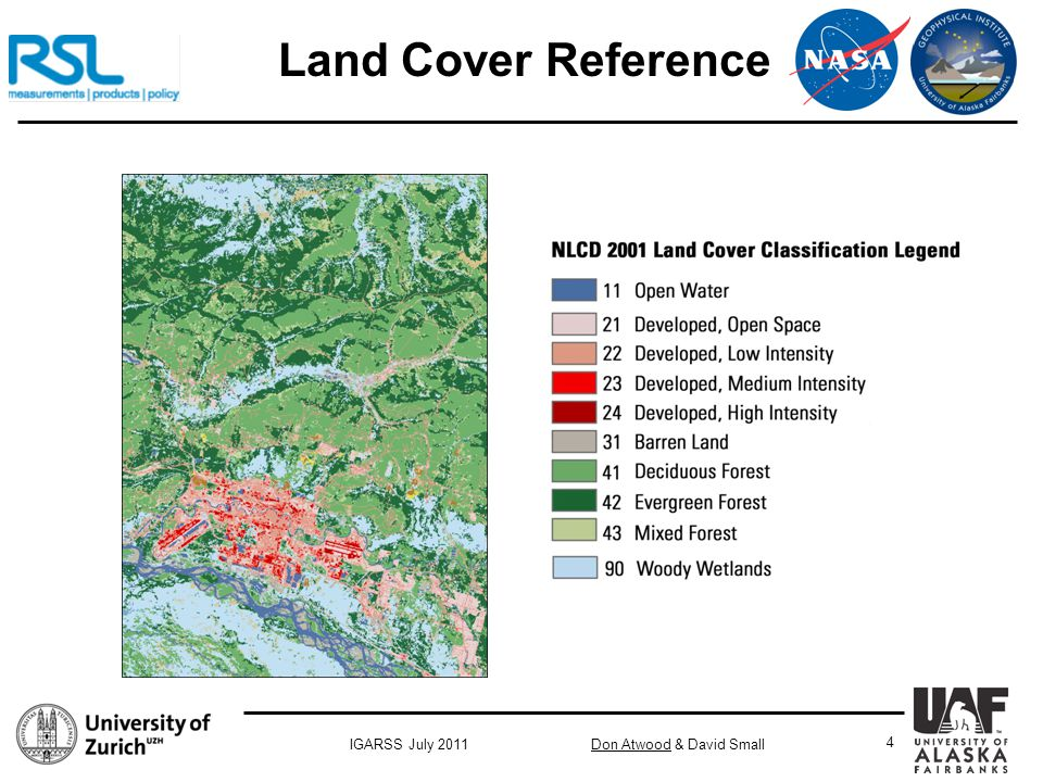 Don Atwood & David SmallIGARSS July 2011 4 Land Cover Reference
