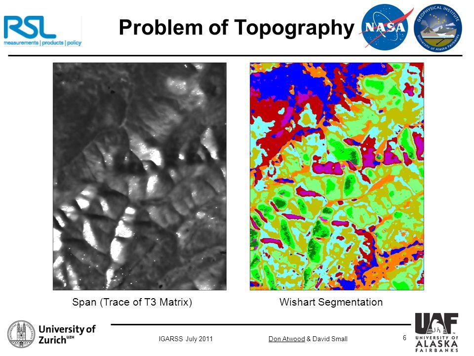 Don Atwood & David SmallIGARSS July 2011 6 Problem of Topography Span (Trace of T3 Matrix) Wishart Segmentation