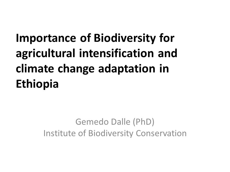 Importance of Biodiversity for agricultural intensification and climate change adaptation in Ethiopia Gemedo Dalle (PhD) Institute of Biodiversity Con