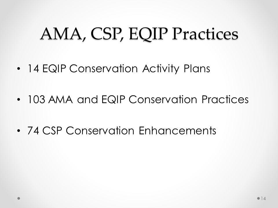 AMA, CSP, EQIP Practices 14 EQIP Conservation Activity Plans 103 AMA and EQIP Conservation Practices 74 CSP Conservation Enhancements 14