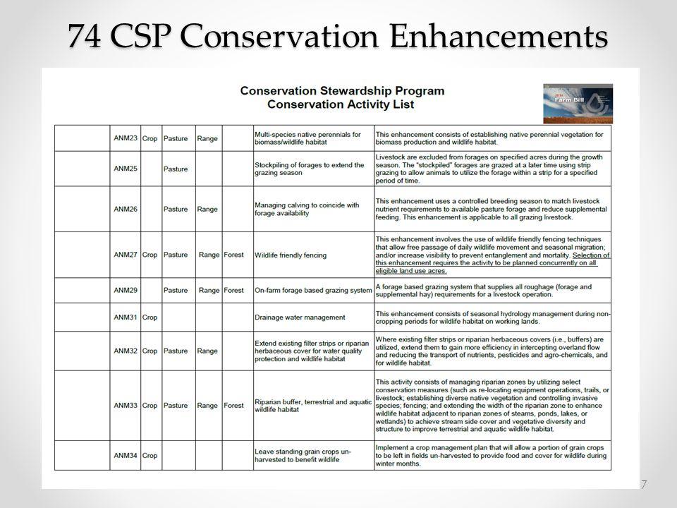 74 CSP Conservation Enhancements 17