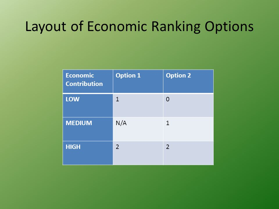 Layout of Economic Ranking Options Economic Contribution Option 1Option 2 LOW10 MEDIUMN/A1 HIGH22