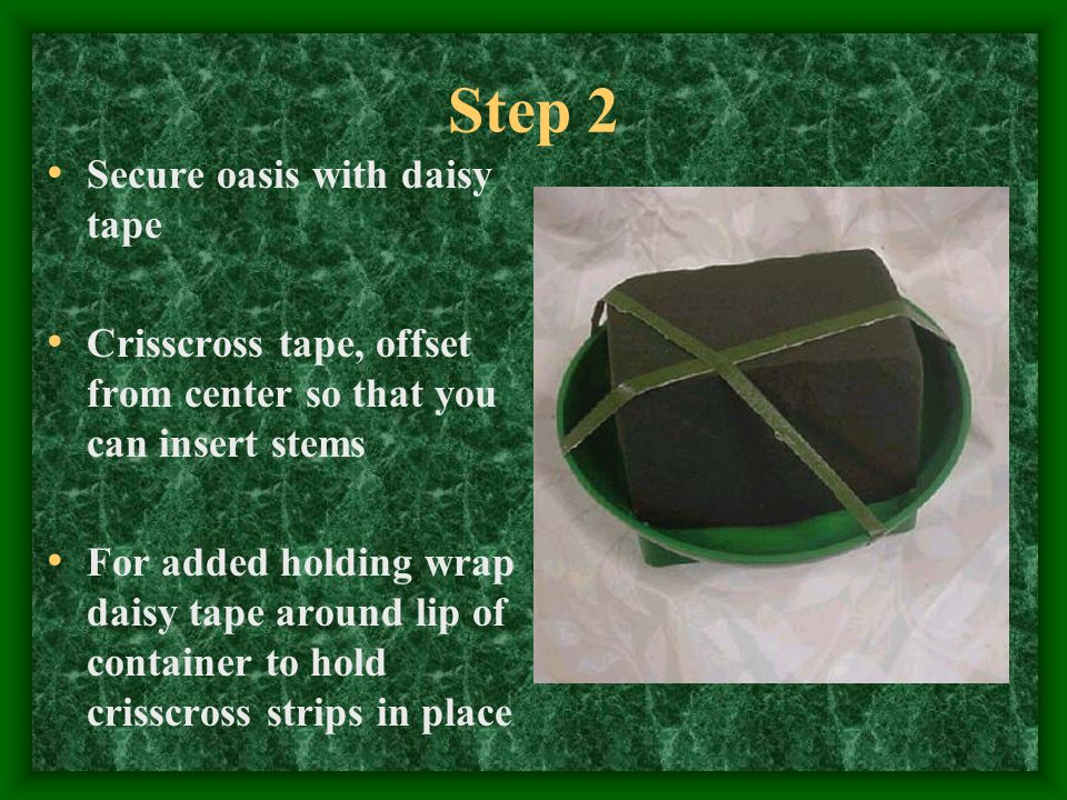 Step 2 Secure oasis with daisy tape Crisscross tape, offset from center so that you can insert stems For added holding wrap daisy tape around lip of c