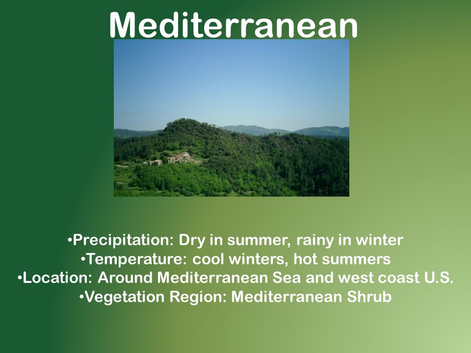 Mediterranean Precipitation: Dry in summer, rainy in winter Temperature: cool winters, hot summers Location: Around Mediterranean Sea and west coast U.S.