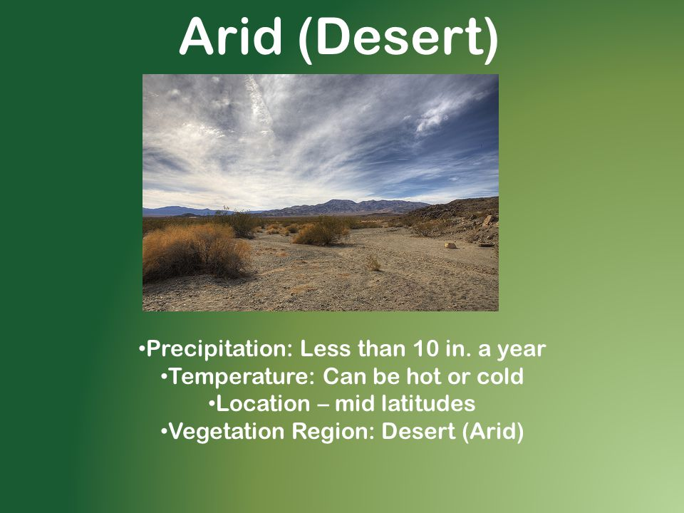 Arid (Desert) Precipitation: Less than 10 in.