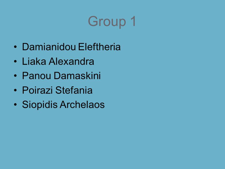 Group 1 Damianidou Eleftheria Liaka Alexandra Panou Damaskini Poirazi Stefania Siopidis Archelaos