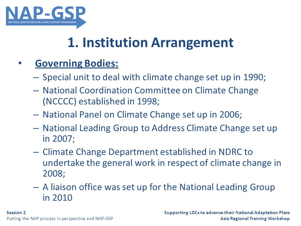 1. Institution Arrangement Governing Bodies: – Special unit to deal with climate change set up in 1990; – National Coordination Committee on Climate C