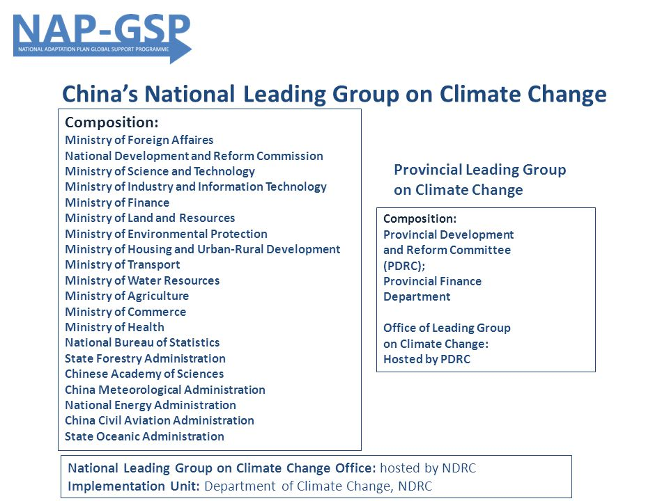 China's National Leading Group on Climate Change Provincial Leading Group on Climate Change Composition: Ministry of Foreign Affaires National Development and Reform Commission Ministry of Science and Technology Ministry of Industry and Information Technology Ministry of Finance Ministry of Land and Resources Ministry of Environmental Protection Ministry of Housing and Urban-Rural Development Ministry of Transport Ministry of Water Resources Ministry of Agriculture Ministry of Commerce Ministry of Health National Bureau of Statistics State Forestry Administration Chinese Academy of Sciences China Meteorological Administration National Energy Administration China Civil Aviation Administration State Oceanic Administration Composition: Provincial Development and Reform Committee (PDRC); Provincial Finance Department Office of Leading Group on Climate Change: Hosted by PDRC National Leading Group on Climate Change Office: hosted by NDRC Implementation Unit: Department of Climate Change, NDRC