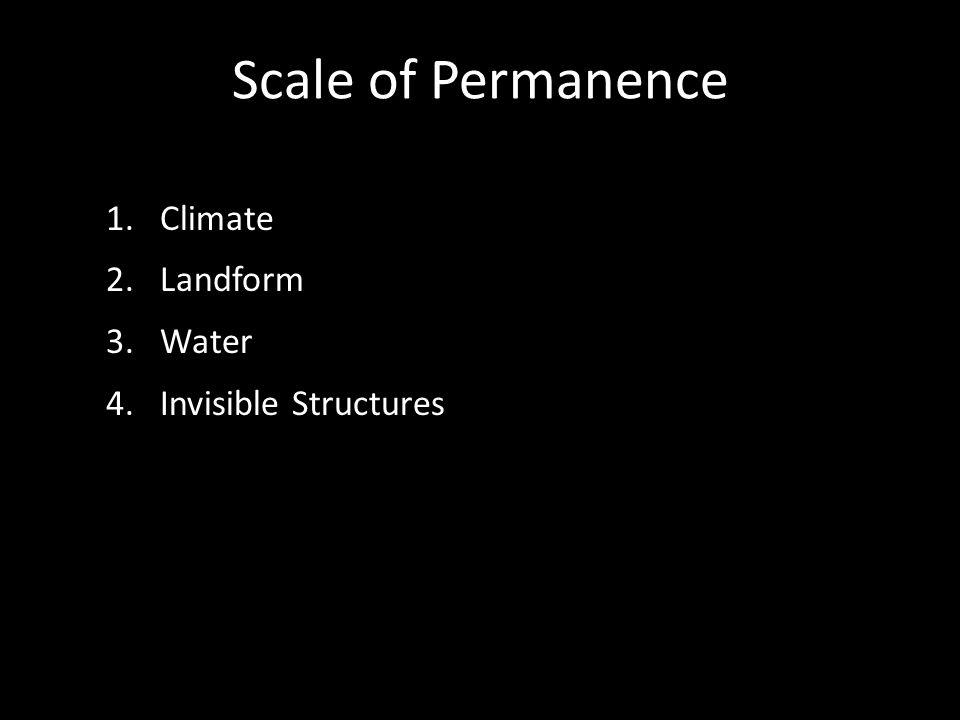 Scale of Permanence 1.Climate 2.Landform 3.Water 4.Invisible Structures