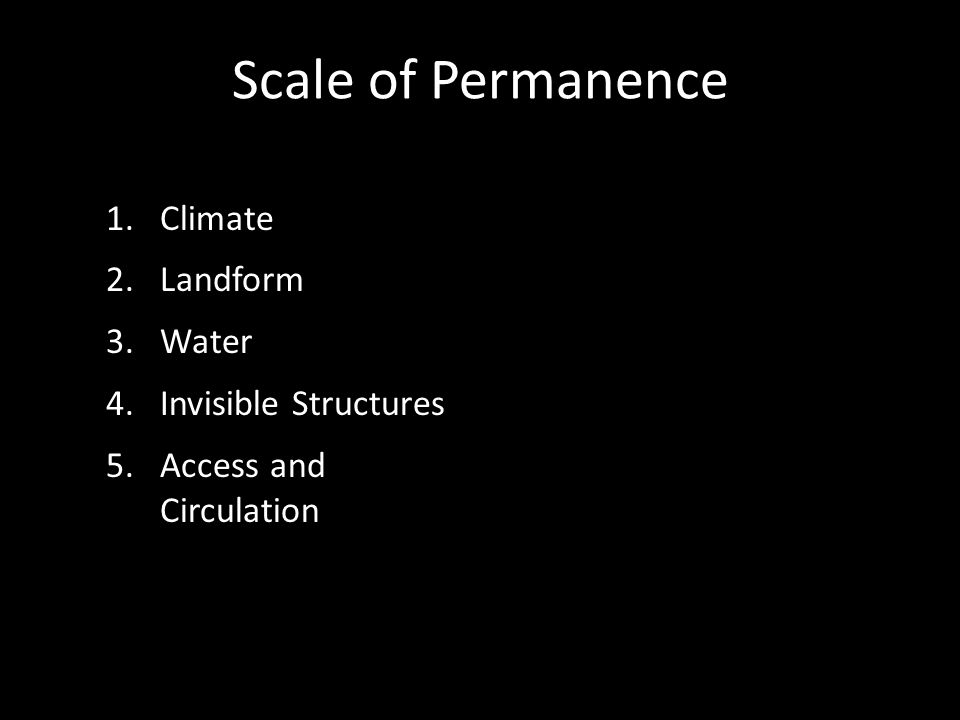 Scale of Permanence 1.Climate 2.Landform 3.Water 4.Invisible Structures 5.Access and Circulation