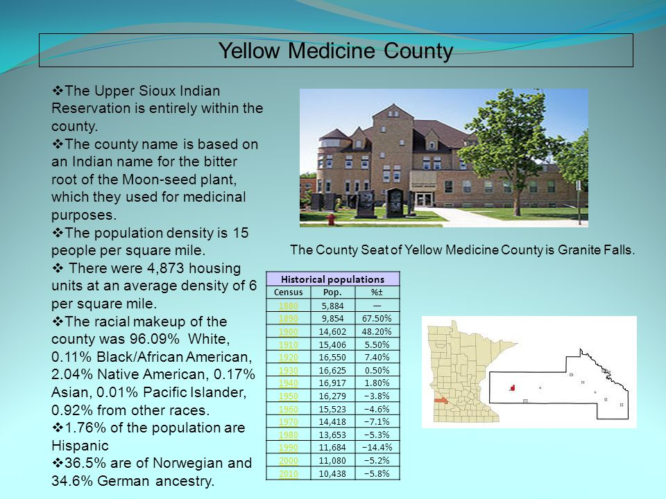 Yellow Medicine County  The Upper Sioux Indian Reservation is entirely within the county.