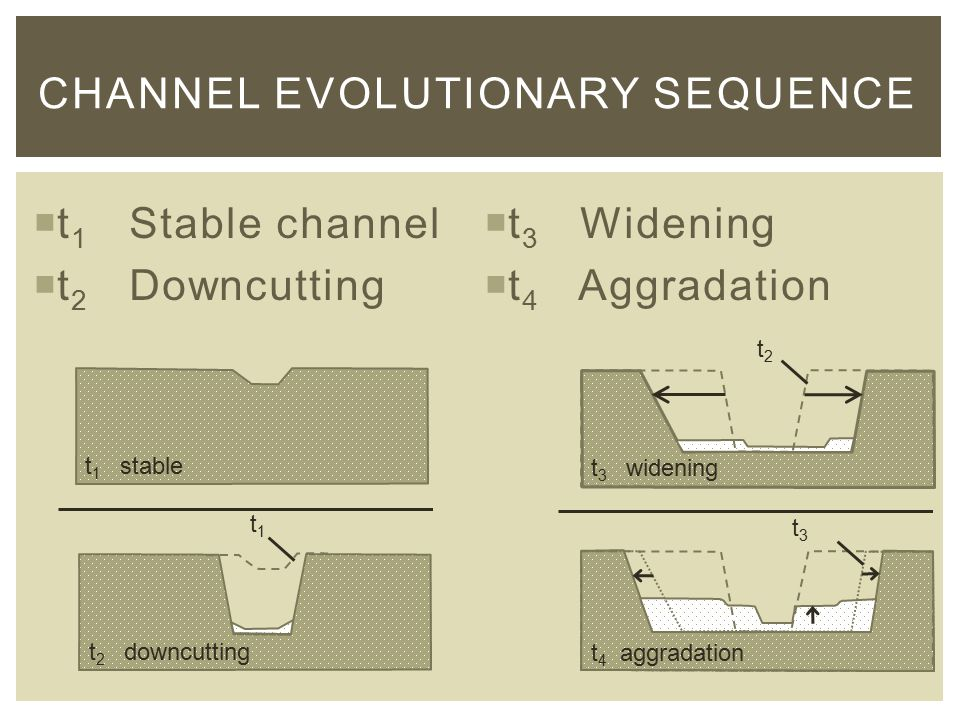  t 1 Stable channel  t 2 Downcutting  t 3 Widening  t 4 Aggradation CHANNEL EVOLUTIONARY SEQUENCE t2t2 t3t3 t 1 stable t 3 widening t 4 aggradation t 2 downcutting t1t1