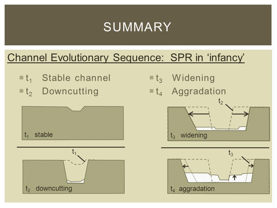  t 1 Stable channel  t 2 Downcutting  t 3 Widening  t 4 Aggradation SUMMARY t2t2 t3t3 t 1 stable t 3 widening t 4 aggradation t 2 downcutting t1t1 Channel Evolutionary Sequence: SPR in 'infancy'