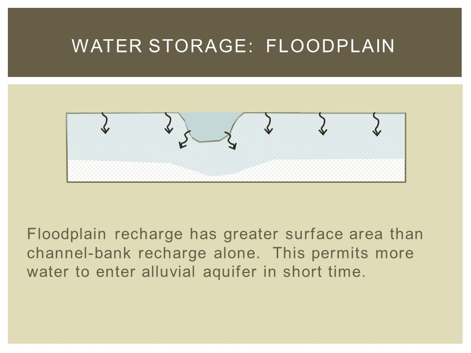 Floodplain recharge has greater surface area than channel-bank recharge alone.