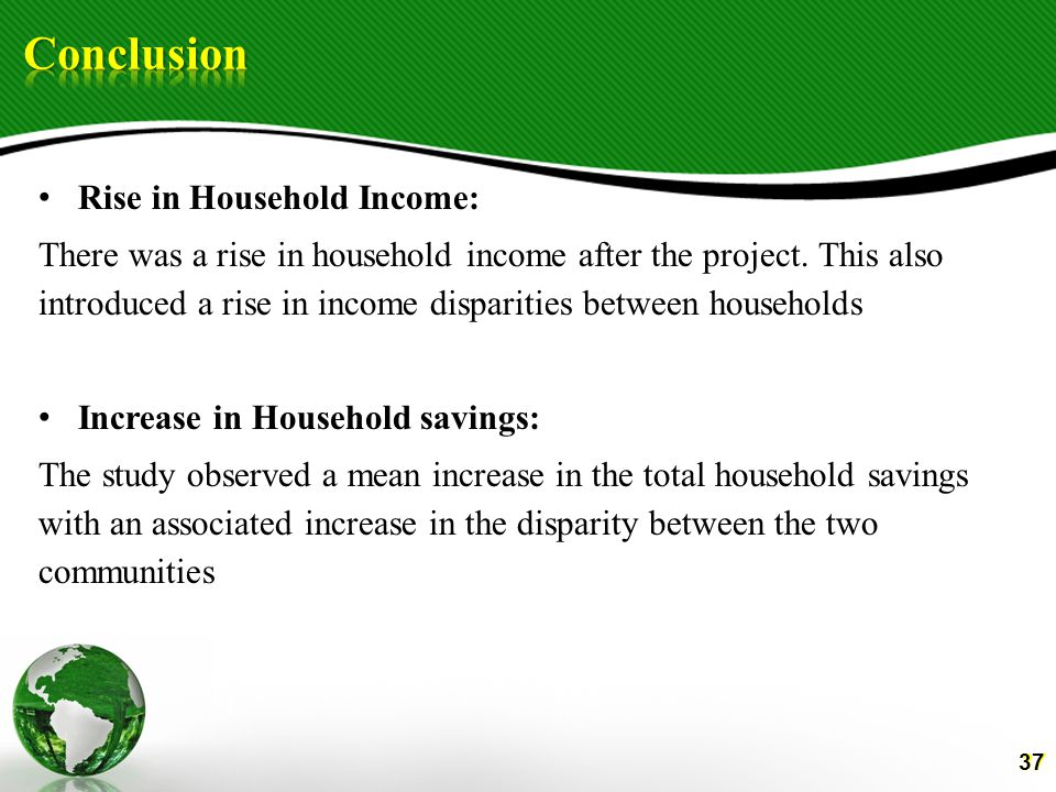 37 Rise in Household Income: There was a rise in household income after the project.
