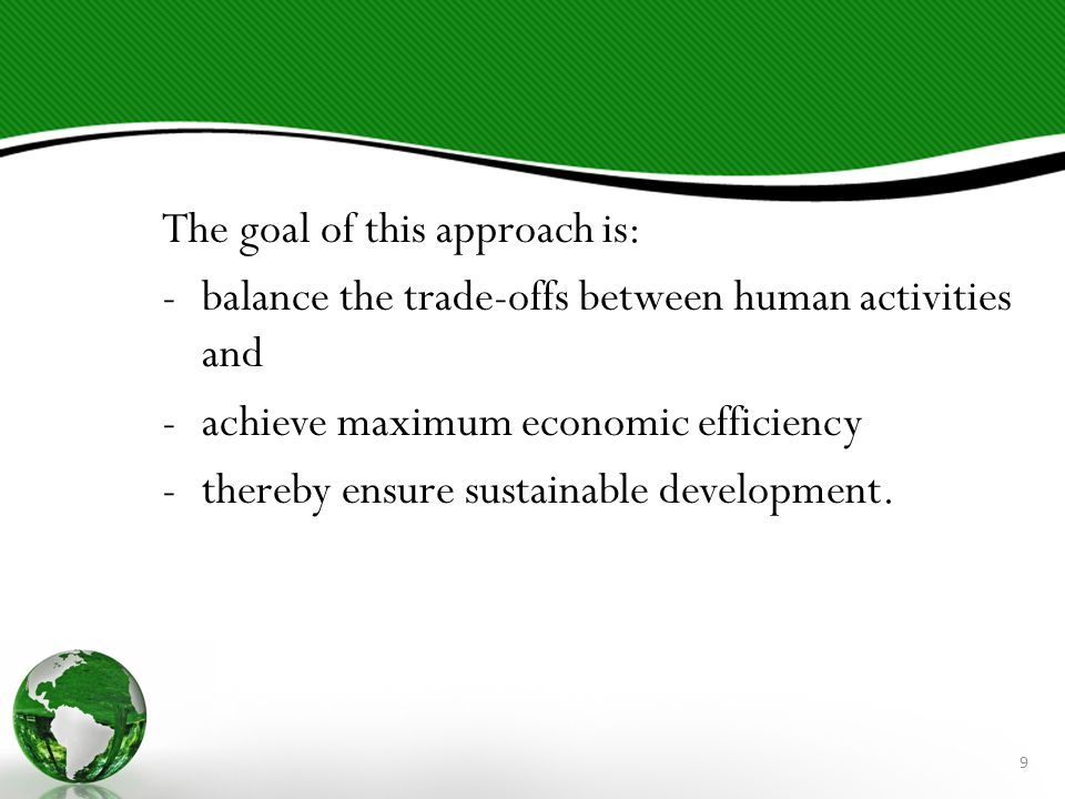 The goal of this approach is: -balance the trade-offs between human activities and -achieve maximum economic efficiency -thereby ensure sustainable development.