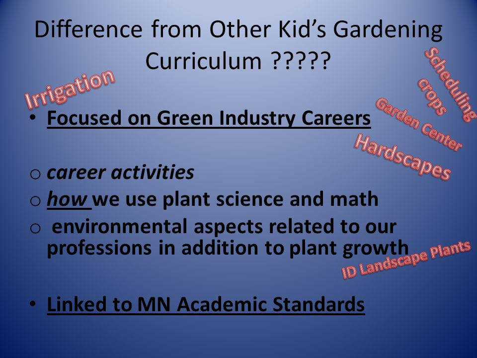 Difference from Other Kid's Gardening Curriculum ????? Focused on Green Industry Careers o career activities o how we use plant science and math o env