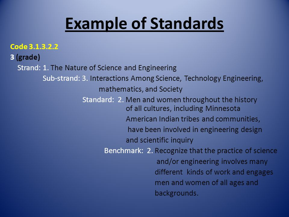 Example of Standards Code 3.1.3.2.2 3 (grade) Strand: 1. The Nature of Science and Engineering Sub-strand: 3. Interactions Among Science, Technology E