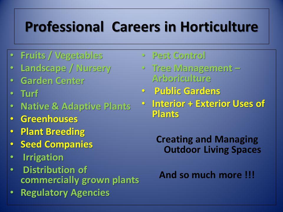 Professional Careers in Horticulture Fruits / Vegetables Fruits / Vegetables Landscape / Nursery Landscape / Nursery Garden Center Garden Center Turf