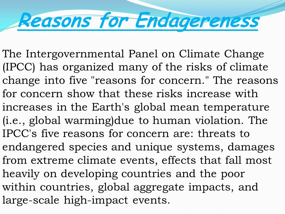 The Intergovernmental Panel on Climate Change (IPCC) has organized many of the risks of climate change into five