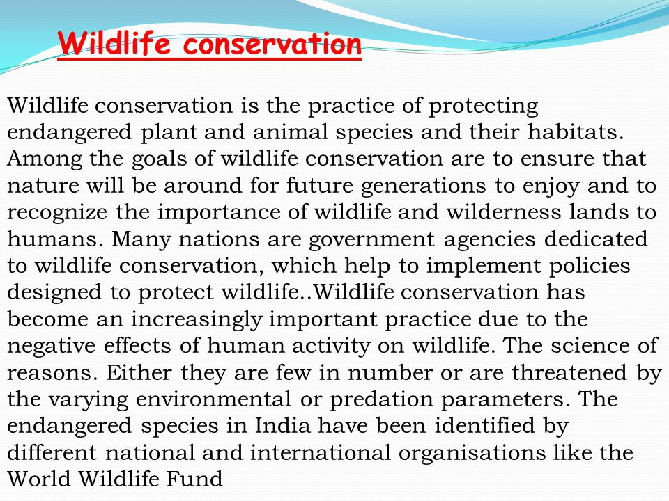 Wildlife conservation is the practice of protecting endangered plant and animal species and their habitats. Among the goals of wildlife conservation a