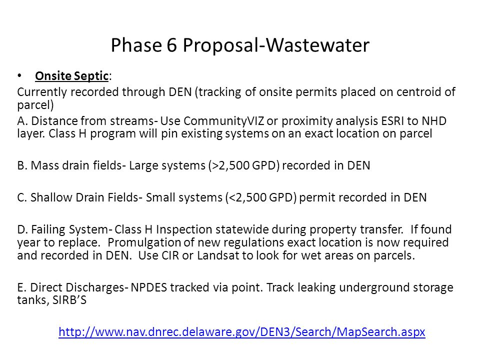 Phase 6 Proposal-Wastewater Onsite Septic: Currently recorded through DEN (tracking of onsite permits placed on centroid of parcel) A. Distance from s