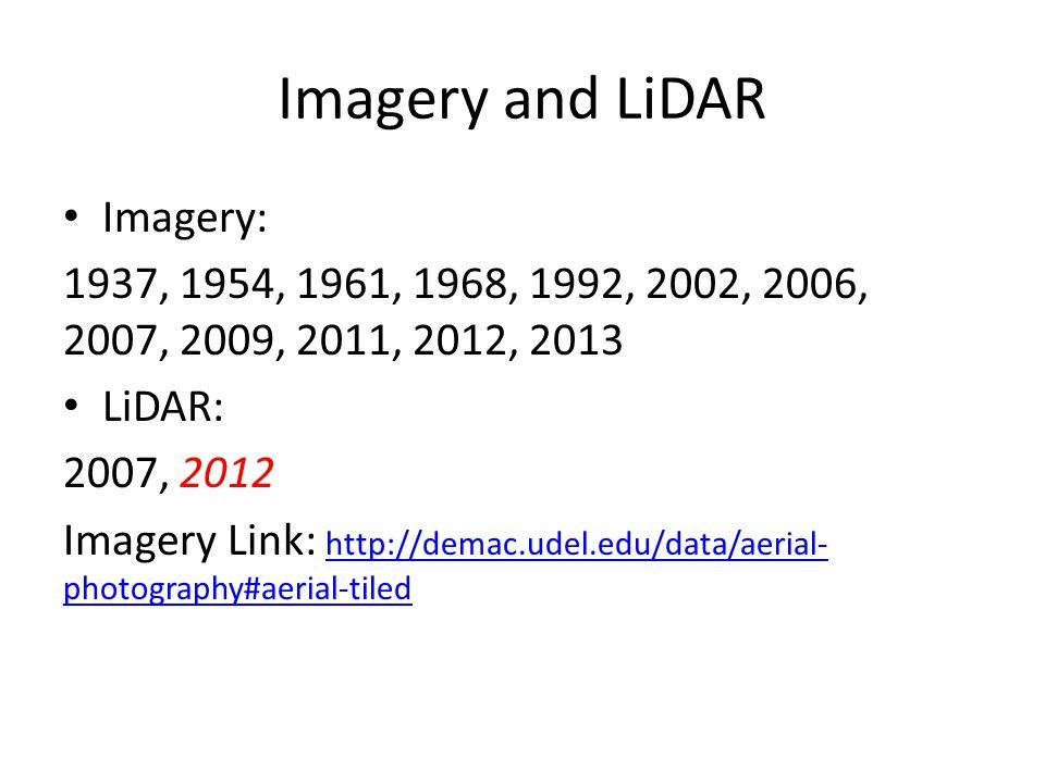 Imagery and LiDAR Imagery: 1937, 1954, 1961, 1968, 1992, 2002, 2006, 2007, 2009, 2011, 2012, 2013 LiDAR: 2007, 2012 Imagery Link: http://demac.udel.edu/data/aerial- photography#aerial-tiled http://demac.udel.edu/data/aerial- photography#aerial-tiled