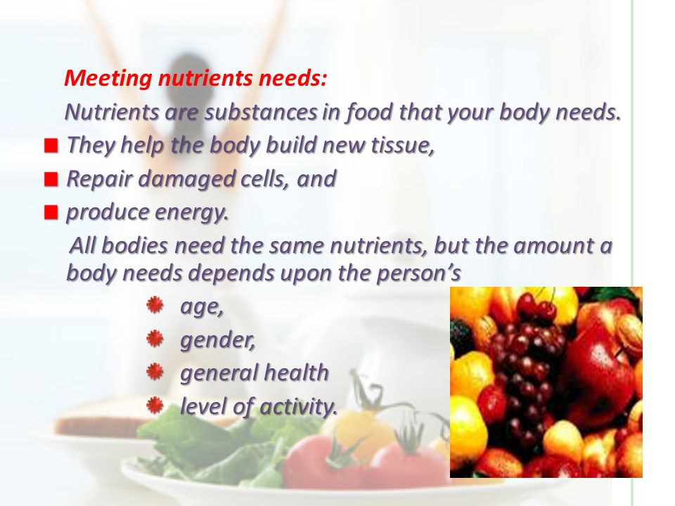 The importance of nutrition Food, like water and air, is one of life's necessities.