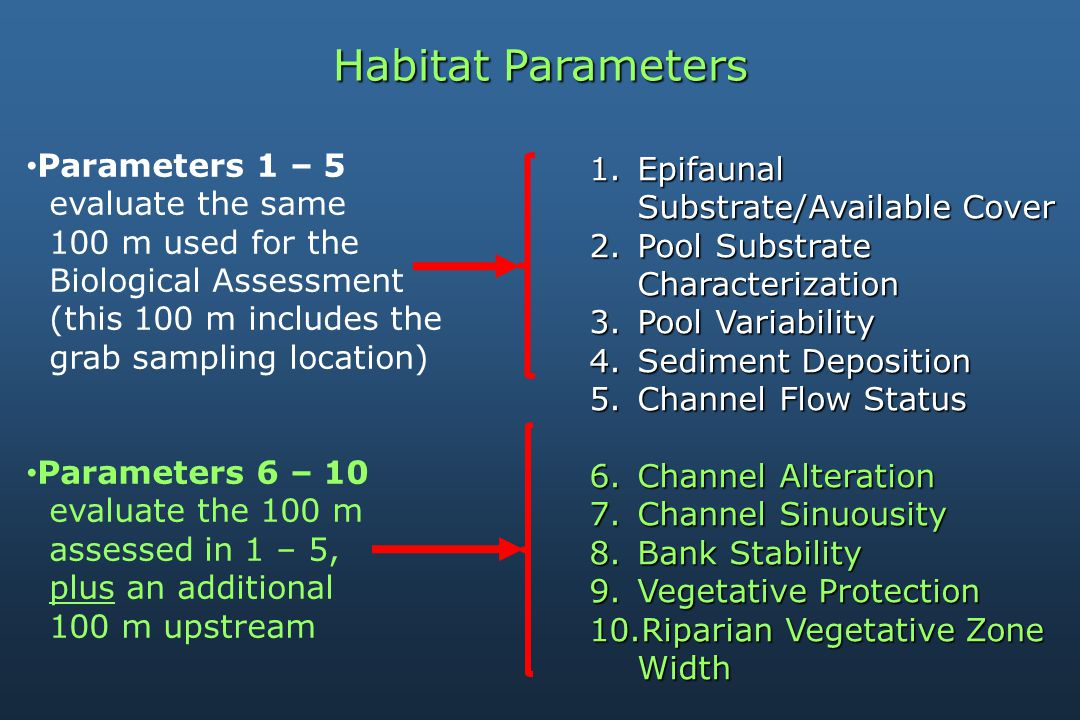 Habitat Parameters 1.Epifaunal Substrate/Available Cover 2.Pool Substrate Characterization 3.Pool Variability 4.Sediment Deposition 5.Channel Flow Status 6.Channel Alteration 7.Channel Sinuousity 8.Bank Stability 9.Vegetative Protection 10.Riparian Vegetative Zone Width Parameters 1 – 5 evaluate the same 100 m used for the Biological Assessment (this 100 m includes the grab sampling location) Parameters 6 – 10 evaluate the 100 m assessed in 1 – 5, plus an additional 100 m upstream