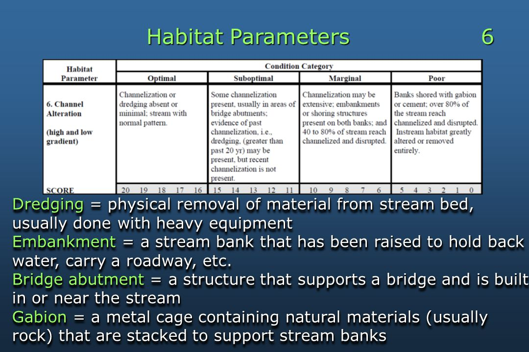 Habitat Parameters 6 Dredging = physical removal of material from stream bed, usually done with heavy equipment Embankment = a stream bank that has been raised to hold back water, carry a roadway, etc.