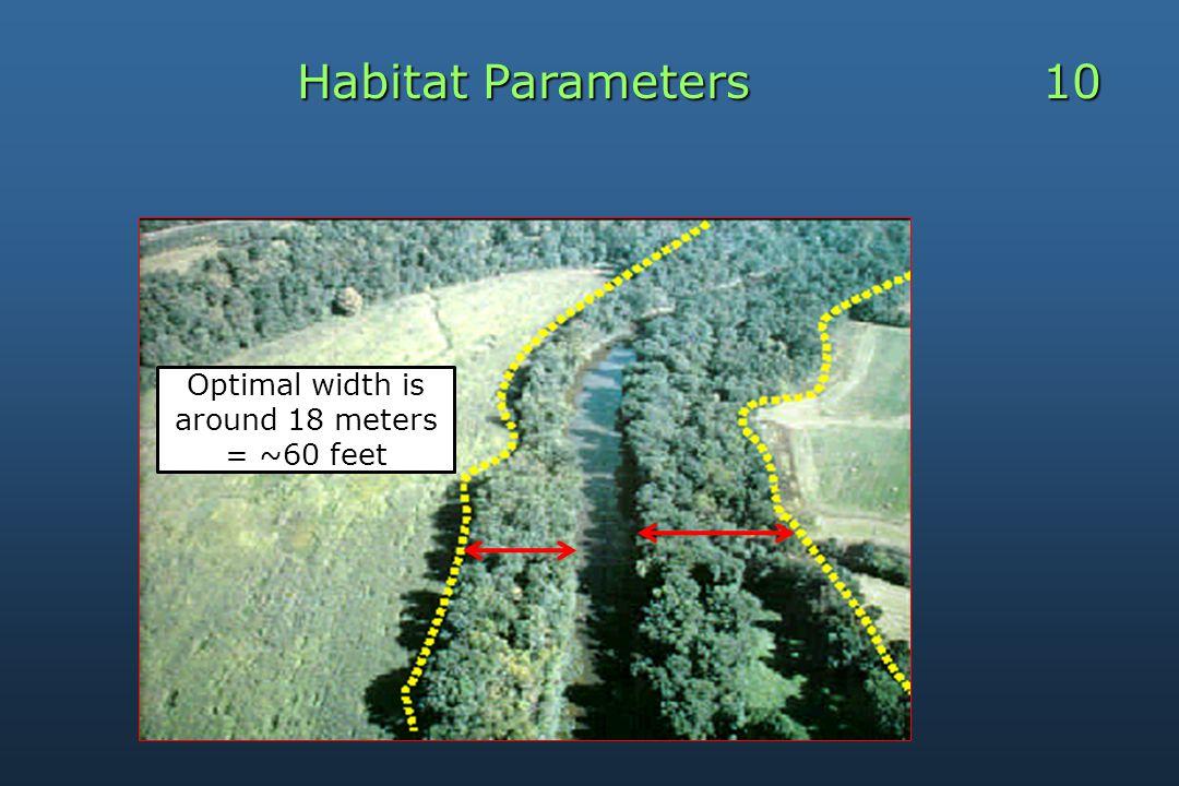 Habitat Parameters 10 Optimal width is around 18 meters = ~60 feet
