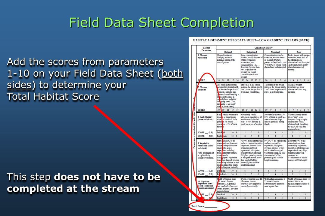 Field Data Sheet Completion Add the scores from parameters 1-10 on your Field Data Sheet (both sides) to determine your Total Habitat Score This step does not have to be completed at the stream Add the scores from parameters 1-10 on your Field Data Sheet (both sides) to determine your Total Habitat Score This step does not have to be completed at the stream